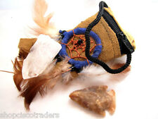 Shaman Power Neck Pouch A21-5 Quartz Crystal Point Arrowhead Suede Leather Bag