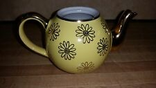 Vintage Hall FRENCH TEAPOT Yellow & Gold Daisy Pattern 2 cup-USA No Lid