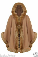 Ladies Women FAUX FUR PONCHO CAPE Trim Hooded Celeb Jacket Lush Wrap Coat 8-16