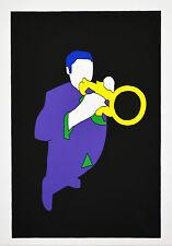 Serigrafia di Marco Lodola - JAZZISTA - cm 35x50 - Editore Tri Art