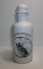 Vintage Ceramic LOVE POTION Bottle Halloween Prop White With OWL 8.25""