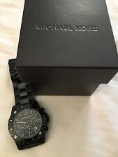MICHAEL KORS BLACK STAINLESS STEEL ION PLATED CHRONOGRAPH WATCH-MK8161+BOX