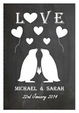 Personalised canvas gift chalkboard Penguin couple A4 Anniversary valentines