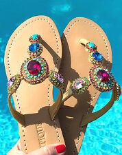 NEW 7 MYSTIQUE Jeweled Rhinestone Crystal IBIZA Leather Thong Sandals Flip Flops