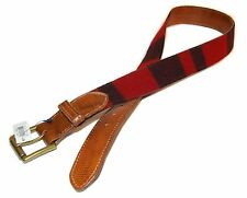 Polo Ralph Lauren Men Vintage Buffalo Wool Leather Belt Red Black Brown 38 USA