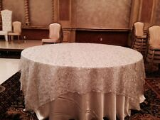 "Sequin Tablecloth for round table Topper Overlay Banquet Decor  silver 98""x67"""