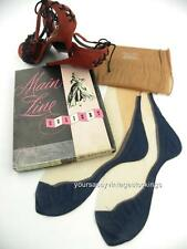 SASSY 3 Pr MAIN LINE 51/15 BLUE FOOT SEAMED FF Vintage Nylon Stockings 8.5/31.5""