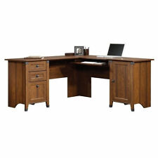 Computer Desk Home Office Workstation Table L Shaped in Washington Cherry