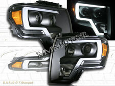 09-14 Ford F150 Black Housing Plank Style Projector Headlights w/LED Strip Bar