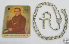 † VERY UNIQUE BLESSED POCKET SEALED JOHN NEUMANN RELIC HOLY CARD GIFT& ROSARY†