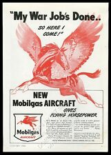 1946 Pegasus flying horse art My War Job's Done Mobil gas vintage print ad