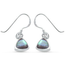 Trillion Cut Abalone Shell .925 Sterling Silver Earring