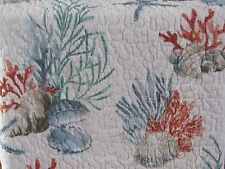 SIGRID OLSEN Coastal Sea Shells Starfish Blue/Coral FULL/QUEEN QUILT (Only)