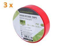 3 x Cinta Aislante PVC Rojo 0.15mm X 19mm X 20m Roll