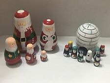 Santa And Igloo Nesting Dolls Sets