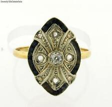 Original Art Deco Sapphires Diamonds Platinum 18K Yellow Gold Ring