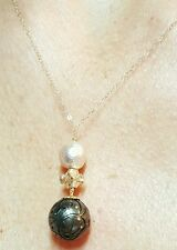 solid 14k gold carved flower black Tahitian pearl pink pearl necklace