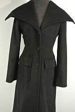 BCBG MAXAZRIA Sz. SMALL Womens LONG 100% WOOL Button Black Jacket Coat dress