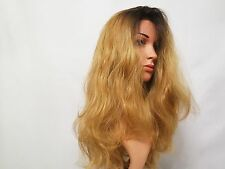 Custom Made Synthetic Wavy Lace Front Wig Brown Roots/Golden Blonde Ombre 20""