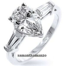 Pear Cut Baguette Cz Cubic Zirconia Bridal Engagement Wedding Sterling Ring 10