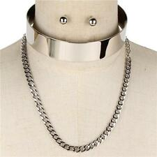 "14"" silver layered cuff choker collar necklace .50"" earrings .80"" wide 143"