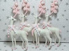 Shabby Christmas Chic Ornaments Decoration Pink White Deer Reindeer Lot 4 New