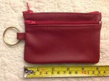 US MADE - TWO ZIPPERS Key Ring & Coin Case Purse Pouch - RED - Genuine Leather