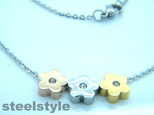 WOMENS STAINLESS STEEL 316L PENDANT NECKLACE THREE FLOWERS