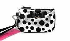 Betsey Johnson Silver and Black Polka Dot Honey Buns Wristlet