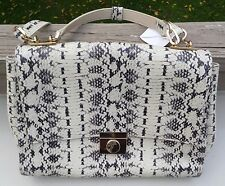 Versace Collection snakeskin leather lock flap top large satchel bag shoulder