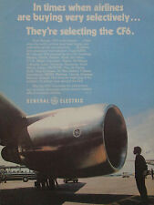 5/1977 PUB GENERAL ELECTRIC CF6 ENGINE 45 AIRLINES A300 DC-10 747 ORIGINAL AD