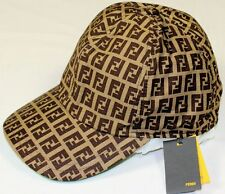 FENDI BROWN/LIGHT BROWN/GREEN ACCENTED LOGO ZUCCA COTTON BALL HAT SM 57 NEW