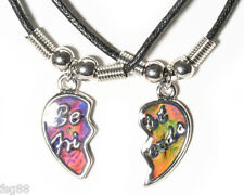 NEW BEST FRIENDS MOOD Half Heart  Pendants 2 Necklace BFF Friendship Friend