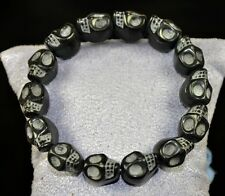 Cool Natural Stone Handcraft Skull Beads Stretchy Wristband Bracelet Cuff Black