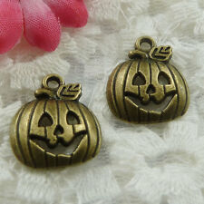 Free Ship 60 pieces bronze plated pumpkin charms 18x16mm #653