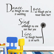 Removable Dance Live Love Sing Words Quote Wall Sticker Wallpaper Wall Decals