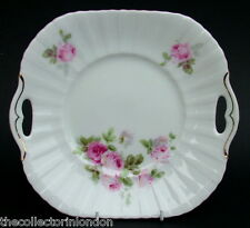 Continental Czechoslovakia Porcelain Cake Gateau or Sandwich Plate Pink Roses