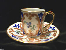 ANTIQUE LIMOGES CUP & SAUCER FLORAL GOLD BLUE CABINET