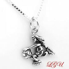 "SILVER BASKETBALL GIRL PLAYER CHARM W/ 18"" BOX NECKLACE"