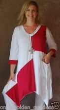 red & white color block shirt top blouse 3/4 sleeve M L XL 1X 2X ONE SIZE