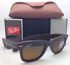 Polarized RAY-BAN Sunglasses RB 2140-Q-M 1153/N6 Brown Leather Frame w/ Brown