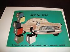1959 Ford Consul NM Condition Car Vehicle Full Color Automobile Sell Sheet