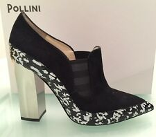 POLLINI COUTURE BLACK SUEDE LOAFER STYLE MIRROW HIGH HEELS PUMPS 37.5 ITALY