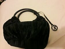 Giorgio Armani Black Suede Striped Ruched Small Hobo Handbag