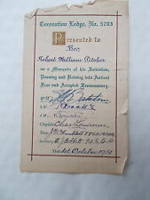 Masonic Coronation Lodge No.5703 Signed Presentation Slip To Robert Pitcher 1951