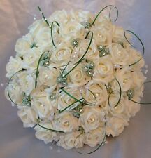 BRIDES WEDDING ARTIFICIAL BOUQUET MINT GREEN/IVORY ROSE CRYSTAL FLOWERS