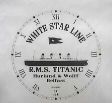 RMS TITANIC SHIP RUSTIC NEW CLOCK FACE WHITE STAR LINE HARLAND & WOLFF BELFAST