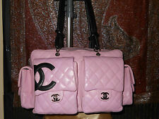 Chanel Pink quilted leather cambon reported bag with black CC's XL