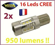 2 AMPOULES 16 LED CREE 80W 950 LM ARRIERE RECUL 1156 P21W BLANCHE CANBUS ODB