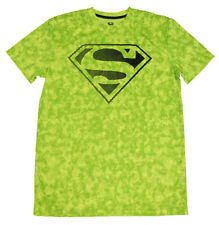 New MEN DC COMICS Superman FLUORESCENT green Athletic COMPRESSION fit T-SHIRT- M